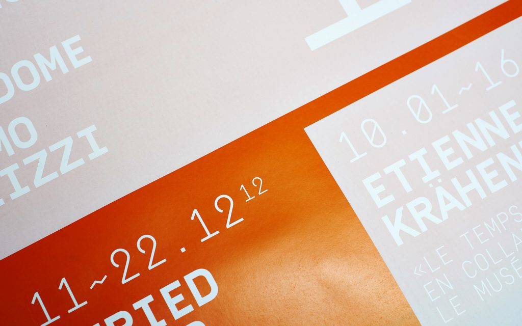 Posters are screenprinted in 2 steps: first with a changing iris print, then with a slightly transparent ink.